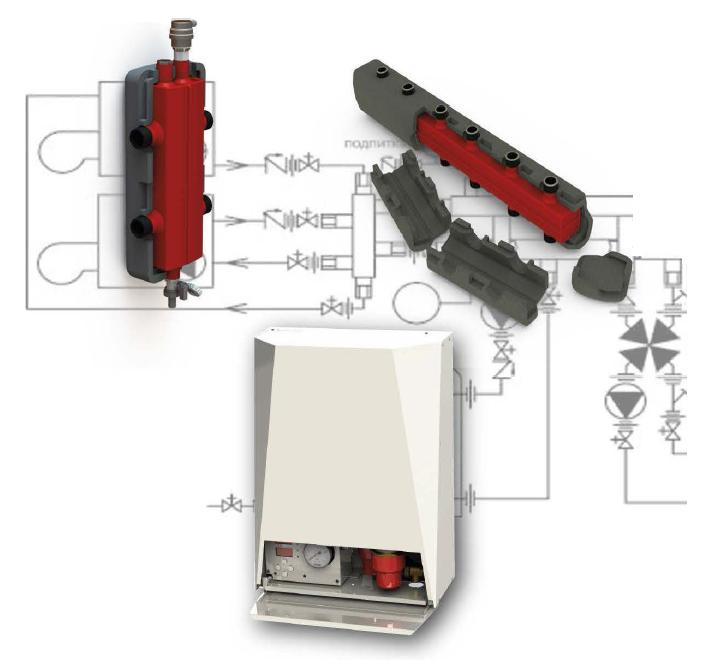Распределительный коллектор в утеплителе на 2 вывода для котлов до 50 кВт 0