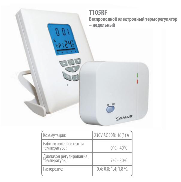 Беспроводной комнатный термостат Salus T105RF 0