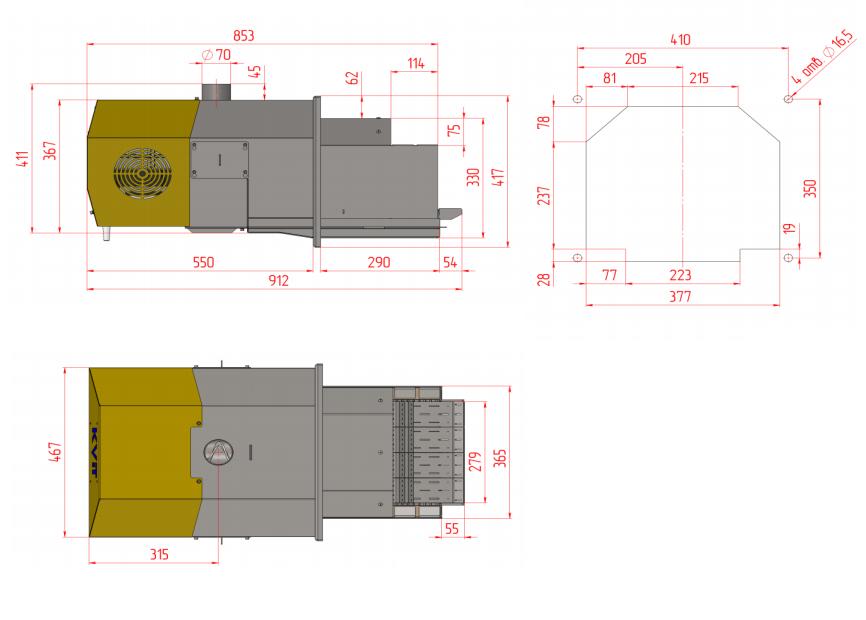 Kvit Optima Prom 200 - пеллетная горелки для твердотопливного котла 9