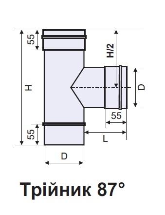 Тройник дымохода утепленный 87 градусов 3