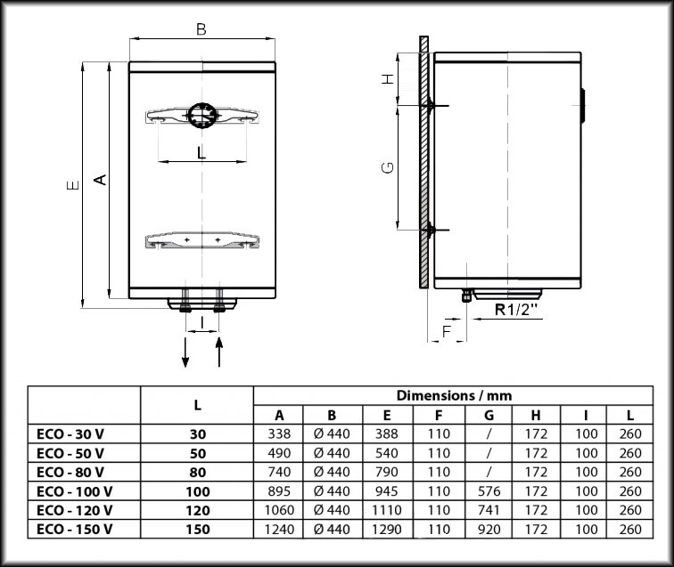 ECO EV 150 44 15/1h MR - бак для нагрева воды электрический 2